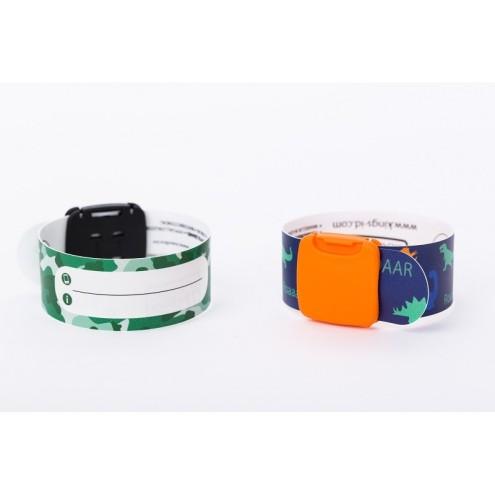 king-s-id-lot-de-2-bracelets-d-identification-reutilisables-dinosaures-camouflage-vert